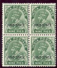 India - Jind 1932 KGV 9p deep green block superb MNH. SG 86. Sc 110.