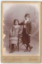 Antigua fotografía de dos niños. Siglo XIX. Foto Torres García, Granada