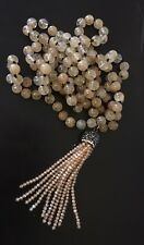 Fashion long knot yellow stone beads Necklace crystal tassel woman jewelry