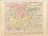 1859. Spagna, Khalifat Di Cordova, Almoravides. Carta Geografica Antica