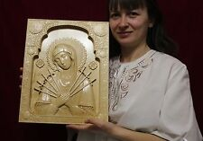Icon Mother of God Seven Arrows  Wooden Carved  Picture . Orthodox. Large.