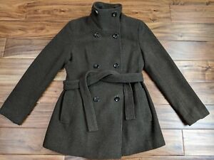 Calvin Klein Womens Wool Peacoat Small Medium Designer Jacket Winter Coat Belted