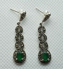 NICE PAIR OF NEW SOLID STERLING SILVER MARCASITE EMERALD DROP  EARRINGS