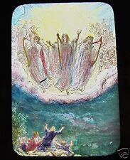 Glass Magic Lantern Slide CHOIR OF ANGELS C1900 BIRTH OF JESUS RELIGION