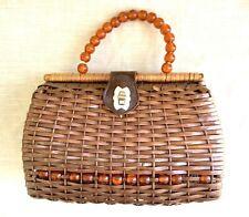 Vintage Mid-Century Basket Purse w/Lucite Beads - Mr Jonas - Hong Kong