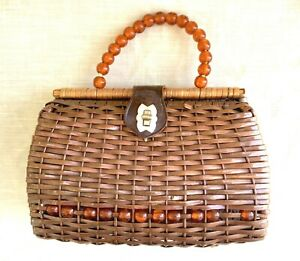 Vintage Mid-Century Basket Purse w/Lucite Beads - Mr Jonas - Hong Kong