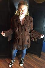 Vtg 1970s Chocolate Brown Suede Leather Fringe Jacket Hippie Boho Tassels Sz Med