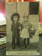 cpa 03 le bourbonnais depart pour la ville enfants paysans costumes