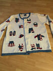 Storybook Knit Western 4th Patriotic Sweater Button Front Cardigan Cowgirl HSN