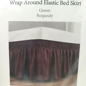 Biscayne Bay Queen Size Burgundy Bed Skirt - Wrap Around Elastic -100% Polyester