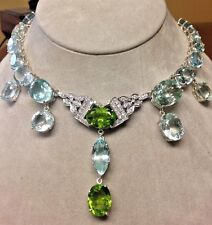Huge Chistick 123 ct aquamarine, peridot, diamond Platinum Choker necklace 14in