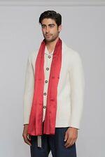 """390$ GIORGIO ARMANI Black Label Stole GA Logo Scarf Red Silk Cotton 18""""x71"""" inch"""