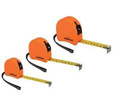 3 Piece Hi Vis Orange Tape Measure Set 3m 5m 8m Metric & Imperial