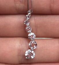 10k White Gold Natural Topaz Journey Pendant Necklace Box Chain