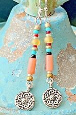 Beautiful Coral and Etched Silver Earrings. Ocean. Beach. Boho Chic.