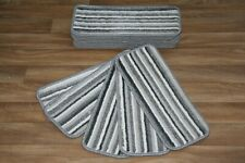 14 Grey Stripey Carpet Stair Case Treads Pads Large Stripe Pad Moon Stripe Grey
