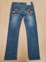 #405 True Religion Womens Sz 26 Jeans Julie Low Skinny Distressed USA Capri
