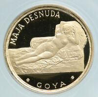 1970 EQUATORIAL GUINEA Maja Desnuda GOYA PRF Gold 250 Pesetas Coin ANACS i89503