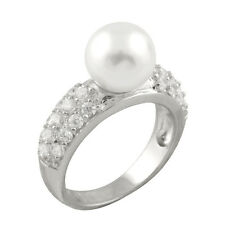 Fancy sterling silver rhodium plated ring with 12mm white shell pearl and CZ.