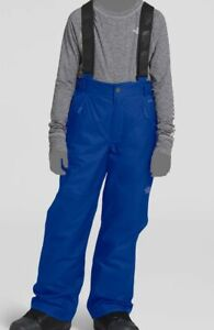 $140 The North Face Kid Boy Blue Waterproof Insulated Logo Overalls Snow Pants M