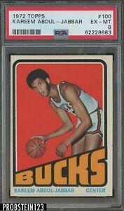 1972 Topps Basketball #100 Kareem Abdul-Jabbar Bucks HOF PSA 6 EX-MT
