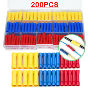 200PCS Electrical Wire Cable Crimp Terminals Insulated Straight Butt Connectors