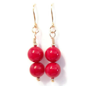 Red Coral Earrings in 9ct Gold, Dangle Drop Hook Earrings with 8mm Round Beads