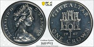 1967 Gibraltar Crown KM-4a Ag PCGS PR63 Rare Beauty!