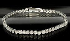 "Sterling Silver Micro Pave CZ Bling Stones Ladies 3mm Tennis Bracelet 7"""