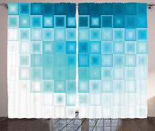 Abstract Curtains Fractal Square Shapes Window Drapes 2 Panel Set 108x84 Inches