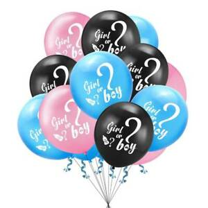 BABY SHOWER HE OR SHE BOY OR GIRL BALLOONS GENDER REVEAL BIRTHDAY PARTY DECOR