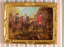 1:12 Scale Gold Framed Picture Of Horses On The Hunt Tumdee Dolls House 5781