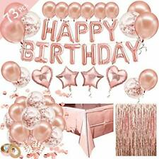 HusDow Rose Gold Birthday Decorations included Happy Birthday Banner Balloons,