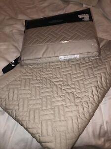 Ralph Lauren Greenwich Standard Sham Pair Set Quilted Vintage Silver $260