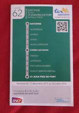 Fahrplan SNCF TER Aquitaine Bayonne - St Jean Linie 62 - nicht Deutsche Bahn