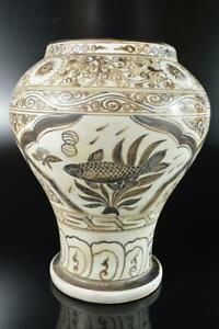 L8233: XF Chinese Brown glaze Fish Flower Arabesque Shapely FLOWER VASE Ikebana