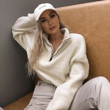 Women Lady Tops Coat Outerwear Sweater Fleece Fur Fluffy Jacket Zipped Winter
