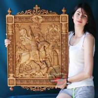"""D39"""" Kiot Saint George and the Dragon 3D Art Orthodox Wood Carved icon (32""""x20"""")"""