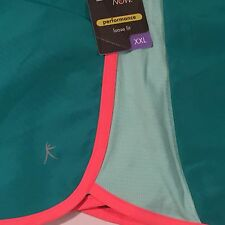 Danskin Now Women's Sport Lined Nylon Shorts Green Neon Orange Size XXL 20 2XL