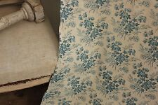 Blue floral fabric antique French 19th century roses picotage aged patina
