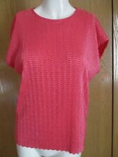 NOTATIONS CRINKLE STRETCH PINK SHORT SLEEVE TOP SZ M