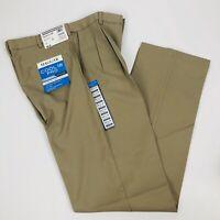 Haggar Men's Cool 18 Pro Dress Pants W34 x L34 Color Tan Pleated Stretch