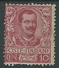 1901 REGNO FLOREALE 10 CENT DENTELLATURA DIFETTOSA MH * - G183