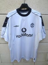 Maillot MANCHESTER UNITED shirt UMBRO vintage 2001 away blanc Vodafone maglia L