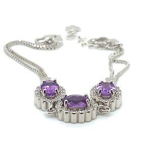 Amethyst 3.55ct Platinum Finish Solid 925 Sterling Silver Bracelet