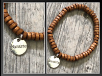 Namaste Round Silver Yoga Meditation Organic Koa Wood Beaded Bracelet Men Woman