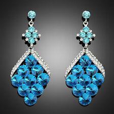 Blue Crystal rhombus Shape Dangle Drop Chandelier Wedding Dress Party Earring