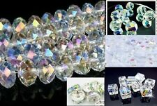 Beads Crystal Clear AB Faceted Glass or Acrylic ALL SIZES Shapes 2MM-8MM