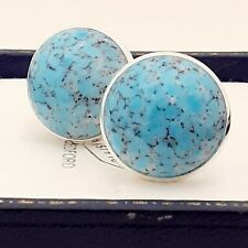Vintage 1950s Blue Turquoise Marble Glass - Large Round Silvertone Cufflinks