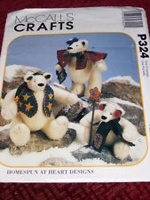 """McCALL'S #P324-CUTE 9"""" & 12"""" SNOW BEARIES-DADDY - MOMMY - BABY BEARS PATTERN  FF"""